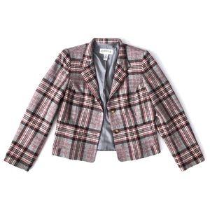 Orvis Wool Plaid Cropped Blazer Jacket Grey Pink 8